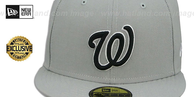 Nationals 'TEAM-BASIC' Grey-Black-White Fitted Hat by New Era
