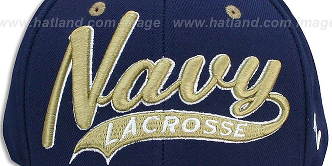 Navy 'SWOOP LACROSSE' Navy Fitted Hat by Zephyr