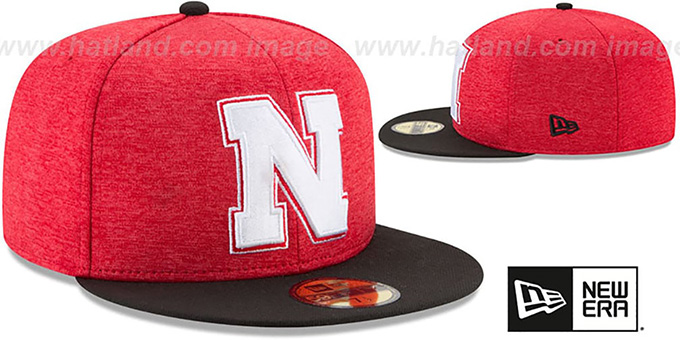 size 40 f62e4 eb0b3 Nebraska HEATHER-HUGE Red-Black Fitted Hat by New Era
