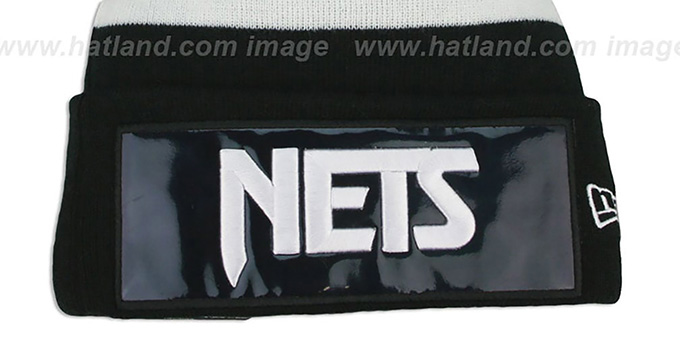 Nets 'BIG-SCREEN' Black-White Knit Beanie Hat by New Era
