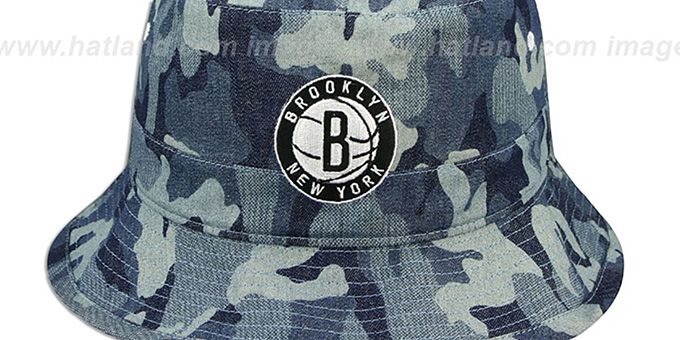 Nets 'DENIM-CAMO BUCKET' Blue Hat by Mitchell and Ness