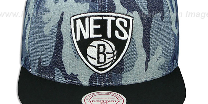 Nets 'DENIM-CAMO SNAPBACK' Blue Hat by Mitchell and Ness