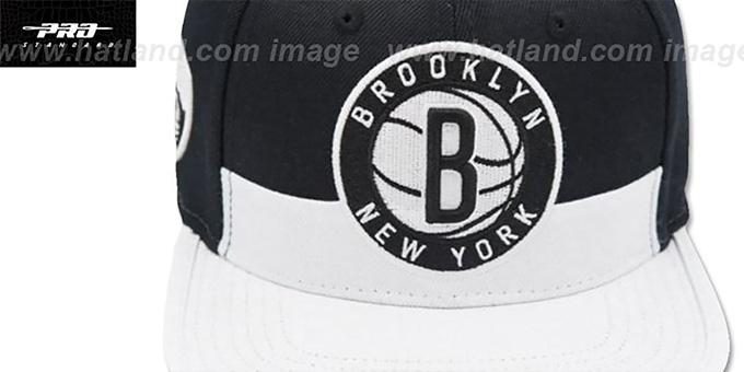 new arrival 62414 2f53f ... Nets  HORIZON STRAPBACK  Black-White Hat by Pro Standard ...