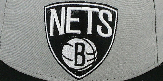 Nets 'NBA-CHASE SHIELD' Grey-Black Fitted Hat by New Era