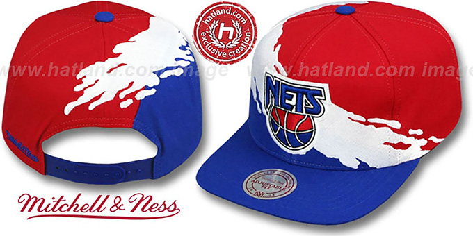 Nets 'PAINTBRUSH SNAPBACK' Red-White-Royal Hat by Mitchell & Ness