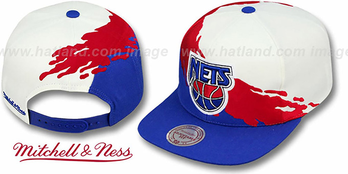 Nets 'PAINTBRUSH SNAPBACK' White-Red-Royal Hat by Mitchell & Ness