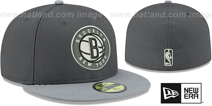 Nets 'SHADER MELT-2' Grey-Grey Fitted Hat by New Era