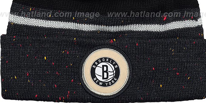 Nets 'SPECKLED' Black-Charcoal Knit Beanie by Mitchell and Ness