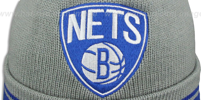 Nets 'XL-LOGO BEANIE' Grey-Royal by Mitchell and Ness
