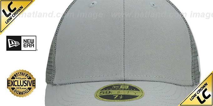 New Era 'LOW-CROWN MESH-BACK 59FIFTY-BLANK' Grey-Grey Fitted Hat