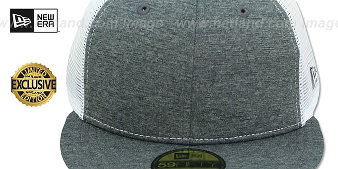 New Era 'MESH-BACK 59FIFTY-BLANK' Charcoal Shadow Tech-White Fitted Hat