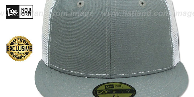 New Era 'MESH-BACK 59FIFTY-BLANK' Grey-White Fitted Hat