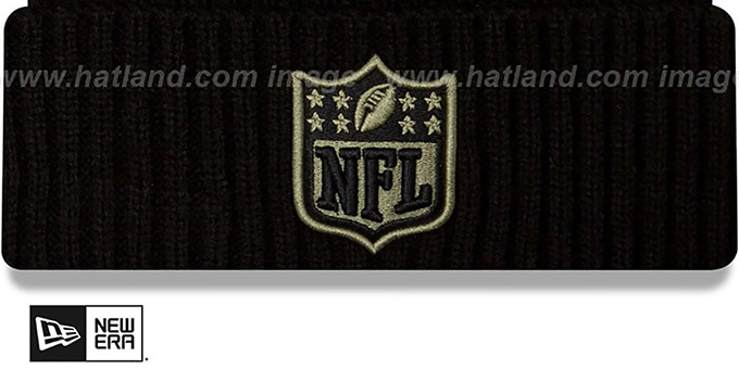 NFL Shield '2020 SALUTE-TO-SERVICE' Black Knit Beanie Hat by New Era
