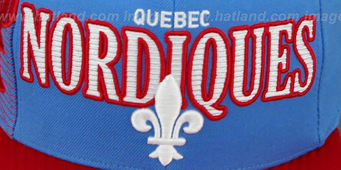 Nordiques 'LASER-STITCH SNAPBACK' Sky-Red Hat by Mitchell & Ness