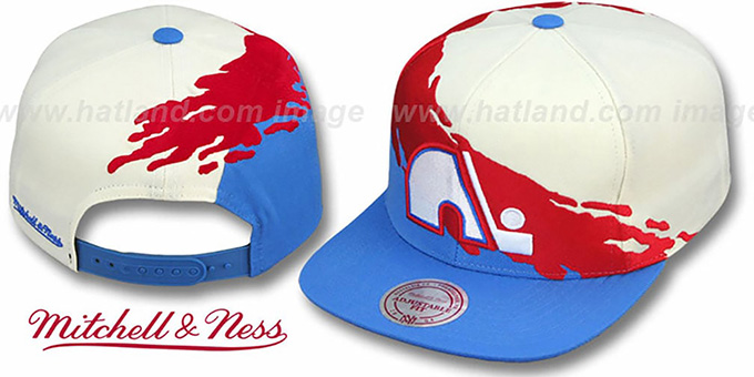 Nordiques 'PAINTBRUSH SNAPBACK' White-Red-Sky Hat by Mitchell & Ness
