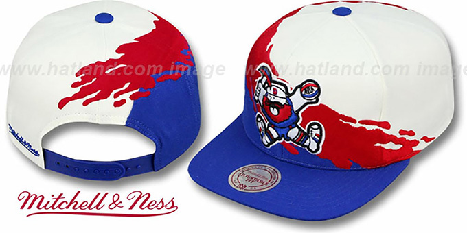 f509526fd7d84e ... Nuggets 'PAINTBRUSH SNAPBACK' White-Red-Royal Hat by Mitchell & Ness ...