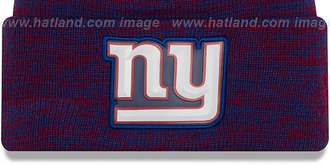 NY Giants 'BEVEL' Royal-Red Knit Beanie Hat by New Era