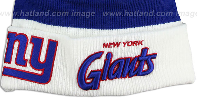 NY Giants 'CUFF-SCRIPTER' White-Royal-Red Knit Beanie Hat by New Era