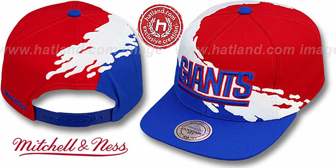 NY Giants 'PAINTBRUSH SNAPBACK' Red-White-Royal Hat by Mitchell and Ness