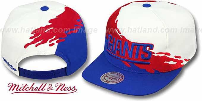 NY Giants 'PAINTBRUSH SNAPBACK' White-Red-Royal Hat by Mitchell & Ness