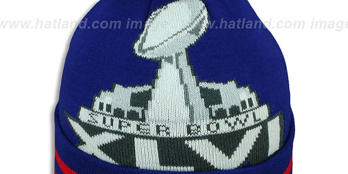 ... NY Giants  SUPER BOWL XLVI  Royal Knit Beanie Hat by New Era ... d432743c3