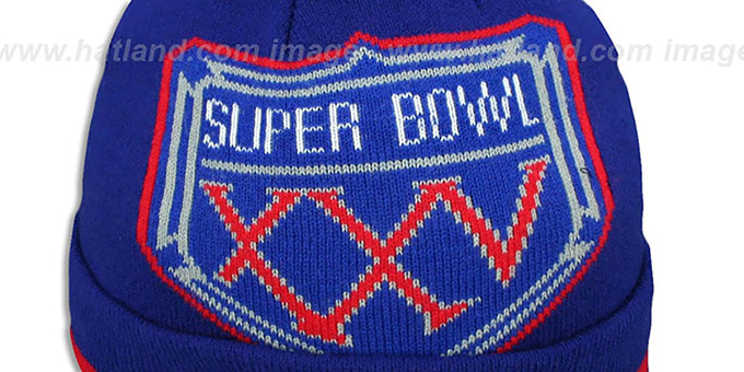 89954d01ca3 ... NY Giants  SUPER BOWL XXV  Royal Knit Beanie Hat by New Era ...