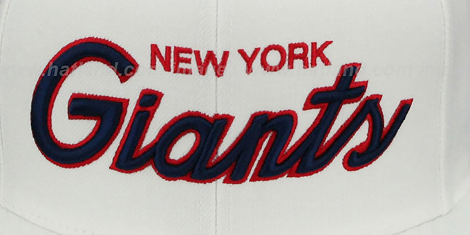 NY Giants 'TEAM-SCRIPT SNAPBACK' White Hat by Mitchell and Ness