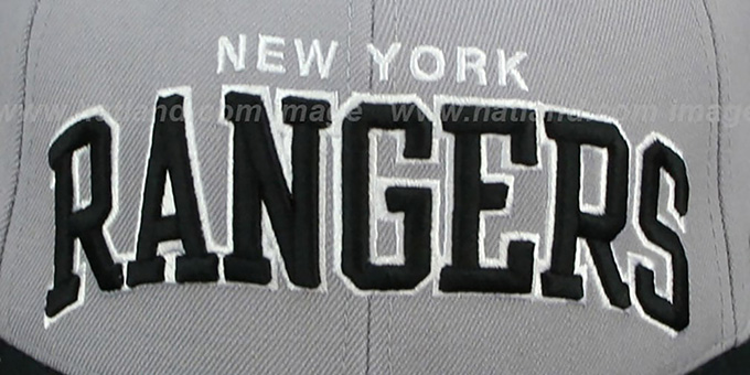NY Rangers '2T XL-WORDMARK' Grey-Black Fitted Hat by Mitchell & Ness