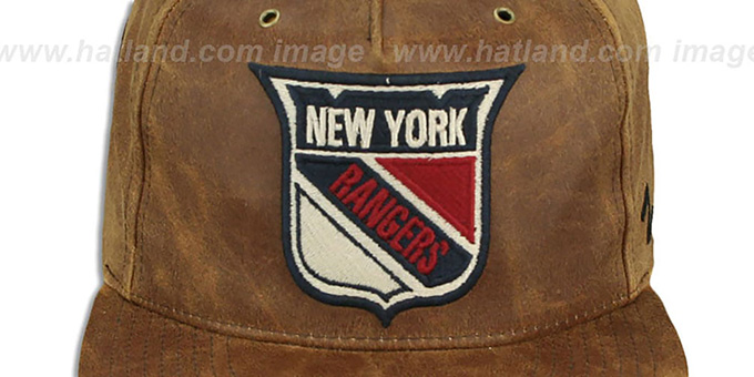 NY Rangers 'DYNASTY LEATHER STRAPBACK' Brown Hat Zephyr