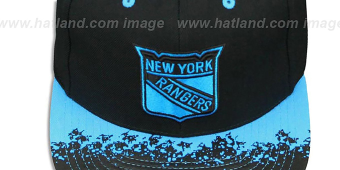 NY Rangers 'NEON-LAVA SNAPBACK' Black-Blue Hat by Mitchell and Ness