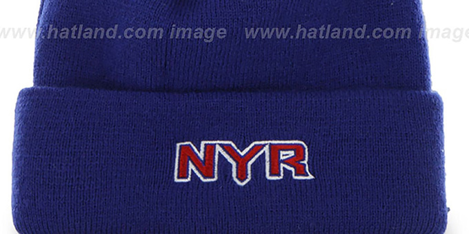 NY Rangers 'POMPOM CUFF' Royal Knit Beanie Hat by Twins 47 Brand