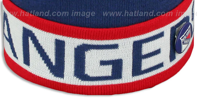 NY Rangers 'THE-BUTTON' Knit Beanie Hat by Michell & Ness