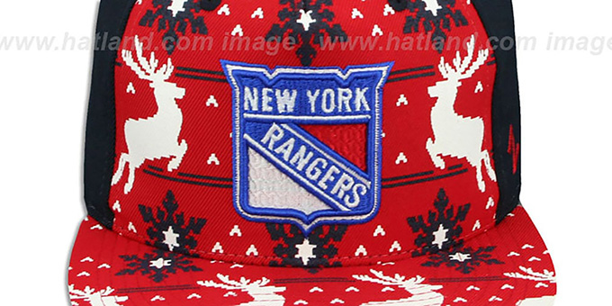 NY Rangers 'UGLY SWEATER SNAPBACK' Navy-Red Hat by Zephyr
