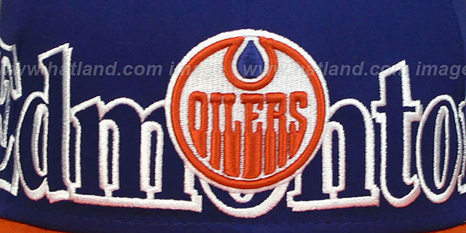 Oilers 'BIG CITY PUNCH SNAPBACK' Royal-Orange Hat by New Era