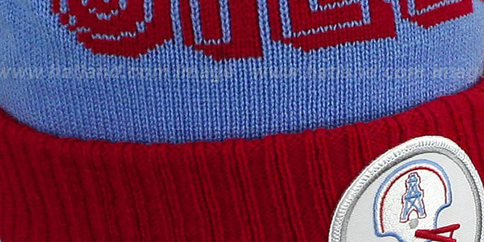Oilers 'CUFF BEANIE-2' Sky-Red Knit Hat by Mitchell and Ness