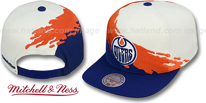 Oilers 'PAINTBRUSH SNAPBACK' White-Orange-Navy Hat by Mitchell & Ness