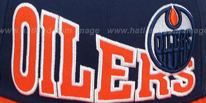 Oilers 'STOKED SNAPBACK' Navy-Orange Hat by New Era