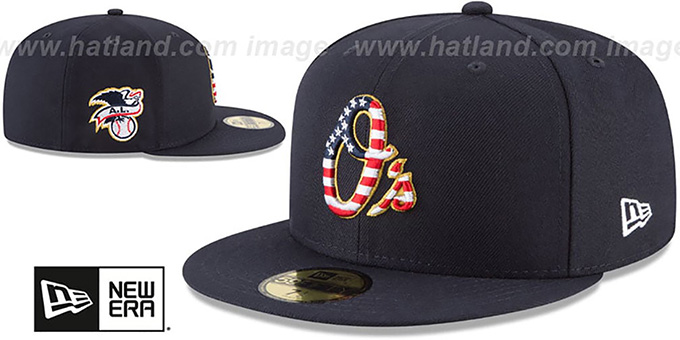 Orioles '2018 JULY 4TH STARS N STRIPES' Navy Fitted Hat by New Era