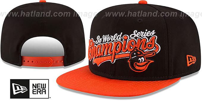 f4e9e1abd53fd ... Orioles  AL EAST WORLD SERIES CHAMPS SNAPBACK  Black-Orange Hat by New  Era ...