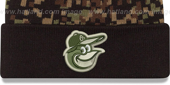 a1fbde5f159 ... Orioles  ARMY CAMO PRINT-PLAY  Knit Beanie Hat by New Era ...