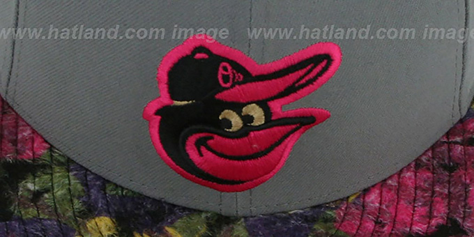 Orioles 'FLORAL-FUR STRAPBACK' Grey-Pink Hat by New Era
