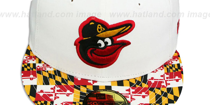 Orioles 'MARYLAND-FLAG VIZA' White Fitted Hat by New Era