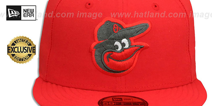 Orioles 'MLB TEAM-BASIC' Fire Red-Charcoal Fitted Hat by New Era