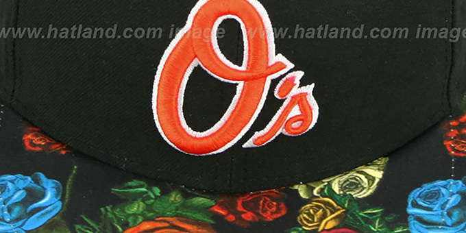 Orioles 'REAL FLORAL VIZA-PRINT' Black Fitted Hat by New Era