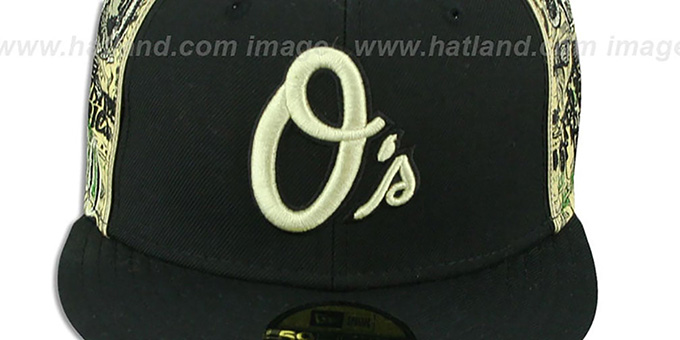 Orioles 'SHOWMEDA$' Black-Money Fitted Hat by New Era