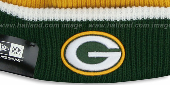 Packers 'NFL FIRESIDE' Gold-Green Knit Beanie Hat by New Era