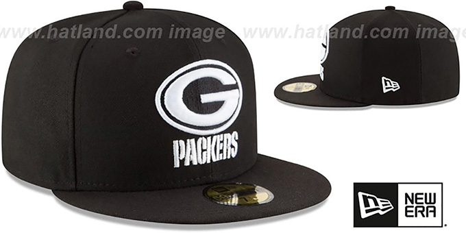 Packers 'NFL TEAM-BASIC' Black-White Fitted Hat by New Era