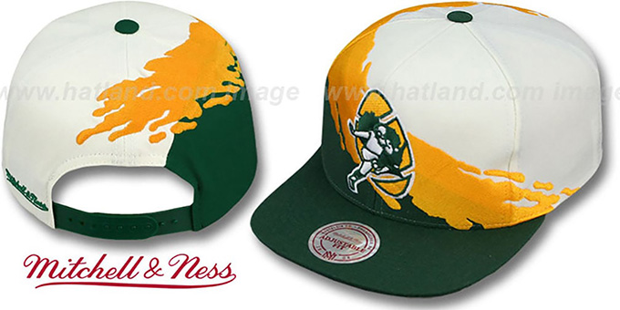 Packers 'PAINTBRUSH SNAPBACK' White-Gold-Green Hat by Mitchell & Ness