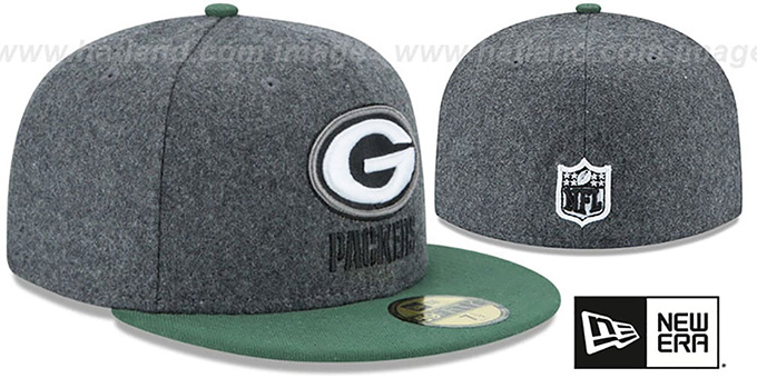 Packers 'SHADER MELTON' Grey-Green Fitted Hat by New Era