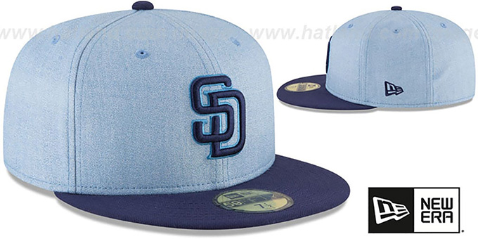 f5baad2f1938b ... Padres  2018 FATHERS DAY  Sky-Navy Fitted Hat by New Era ...